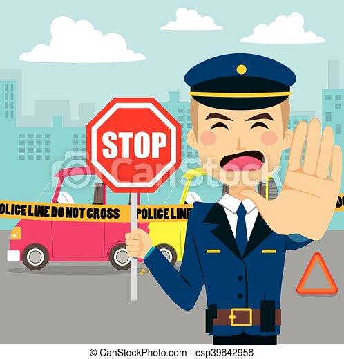 auto-ongeluk, politieagent - csp39842958