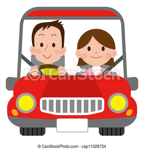 Auto Paar Lacheln Glucklich