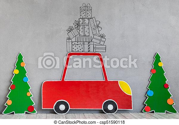 Auto Pappe Baum Weihnachten