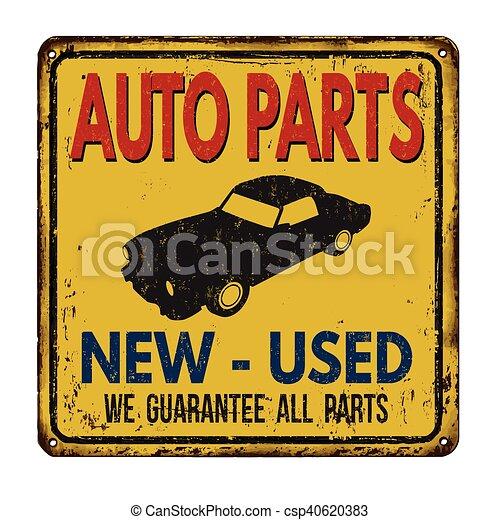 Auto Parts Vintage Metal Sign Auto Parts Vintage Rusty Metal Sign