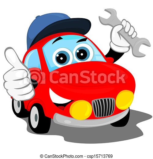 auto repair the red car in the cap holding a wrench and clip rh canstockphoto com auto mechanic clipart free motor mechanic clipart