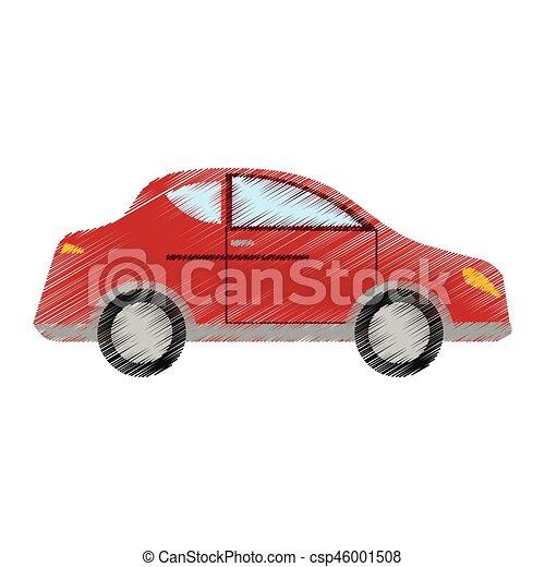 auto, rood, voertuig, sedan, tekening, vervoeren. tien, auto, eps