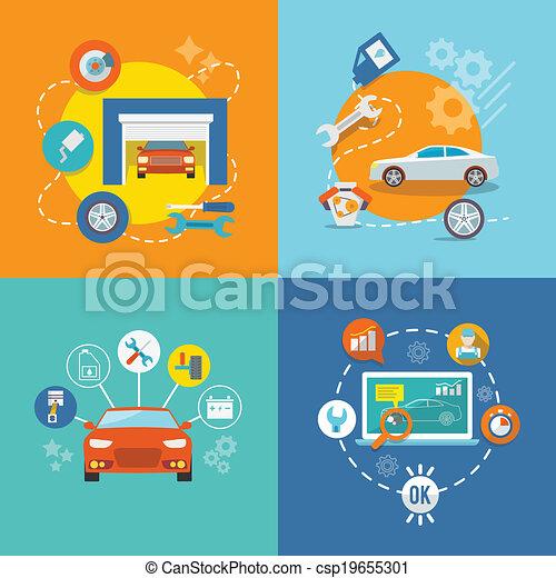 Auto service icon flat - csp19655301