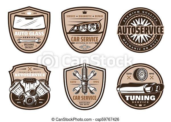 Auto service retro badge of car repair shop design