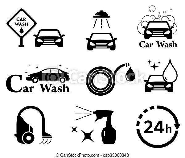 auto set wassen vrijstaand iconen set iconen auto