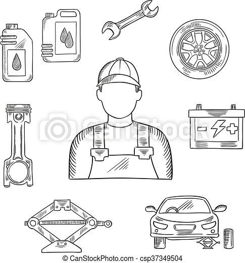 Auto, skizze, beruf, symbol, mechaniker. Rad, skizze,... Vektor ...