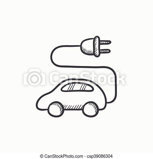 Auto, skizze, elektrisch, icon. Website, skizze, elektrisch ...