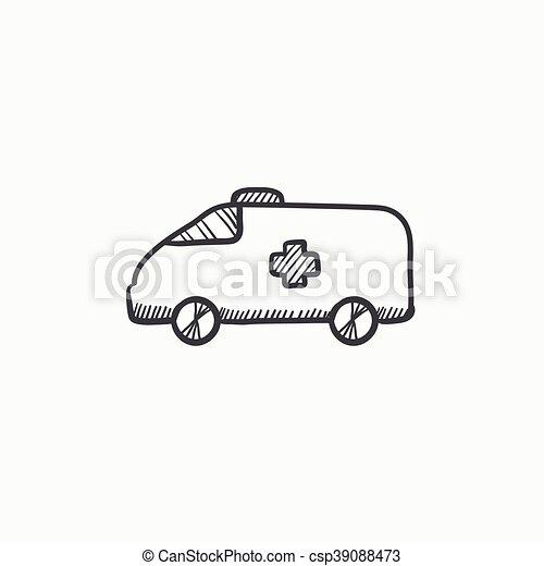 Auto, skizze, icon., krankenwagen. Website, skizze,... Vektoren ...
