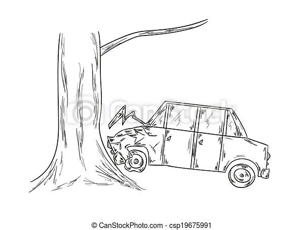 Auto, skizze, unglück. Baum, skizze, unglück, auto.