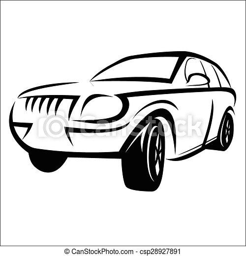 Auto, skizze. Skizze, auto, -, abbildung, hintergrund.,... EPS ...
