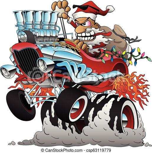Auto Stange Abbildung Weihnachten Heiss Vektor Santa
