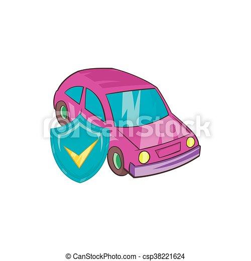 Auto Stil Ikone Versicherung Karikatur Stil Auto Karikatur