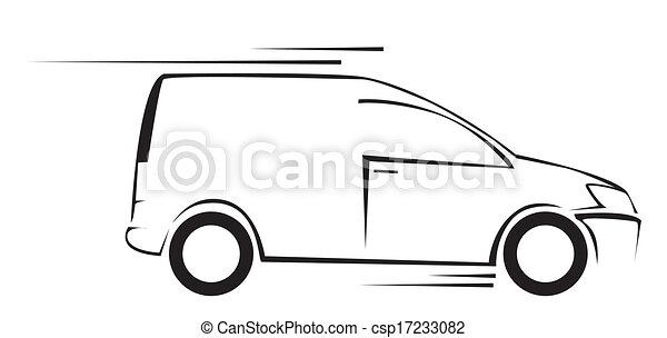 auto, symbool, illustratie, vector, bestelbus - csp17233082