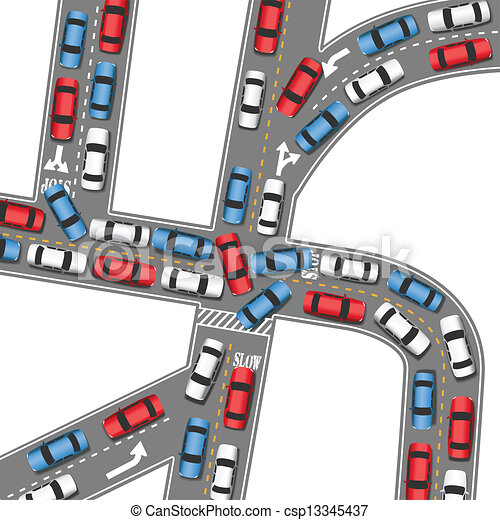 Auto traffic jam busy road cars drive - csp13345437