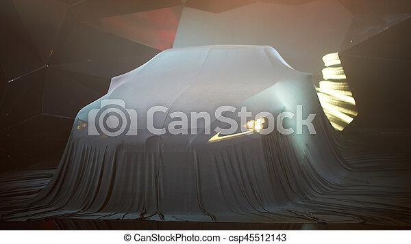 Schließen Sie ein neues Auto, versteckt unter Deck. - csp45512143