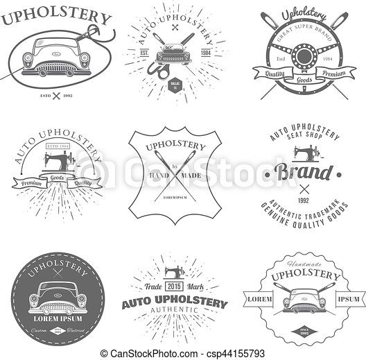 Auto Upholstery Vintage Badges And Labels Vector Illustration