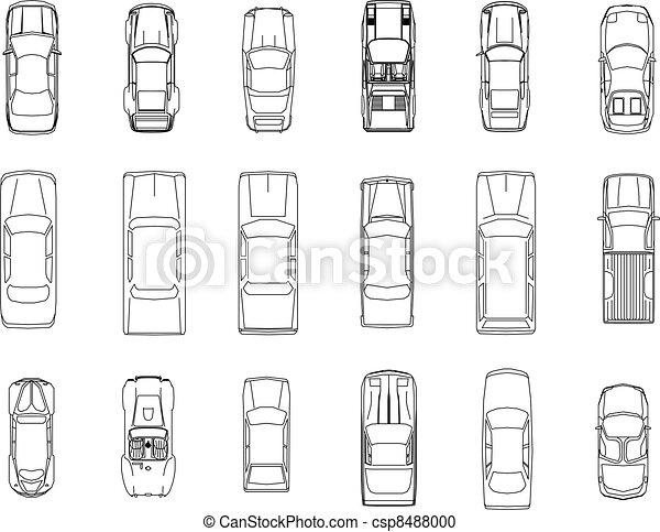 auto, vektor, plan - csp8488000