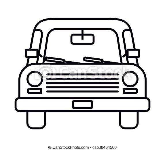 auto, vrijstaand, ontwerp, voorkant, tekening, pictogram. grafisch