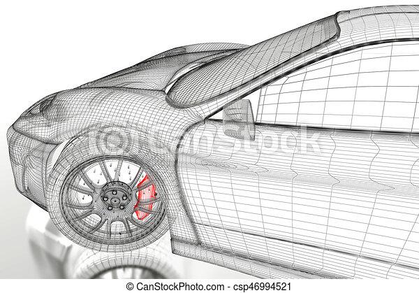 Auto, weißes, masche, 3d. Blaupause, geleistet, auto, bild ...