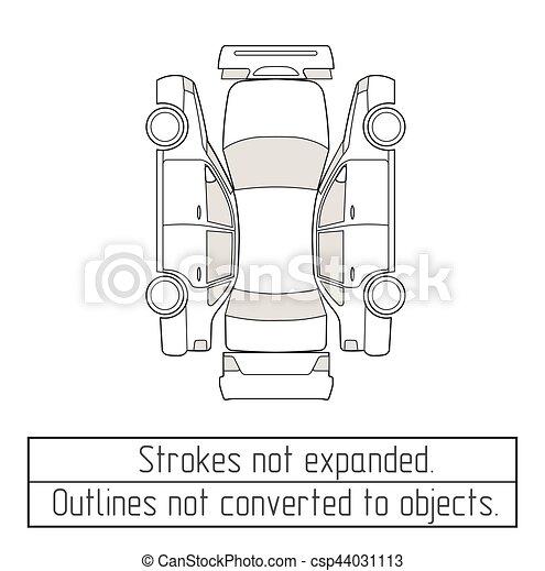 Auto, zeichnung, sedan, gegenstände, not, verwandelt,... Vektor ...