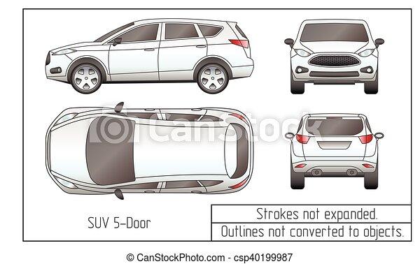 Auto, zeichnung, suv, gegenstände, sedan, not, verwandelt,... Vektor ...