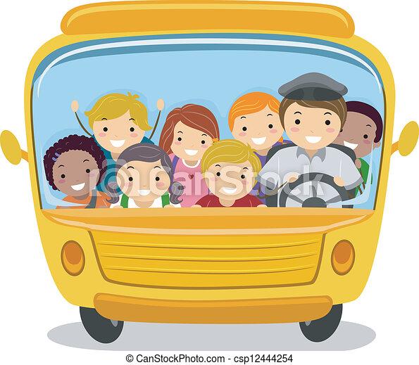 Niños del autobús escolar - csp12444254