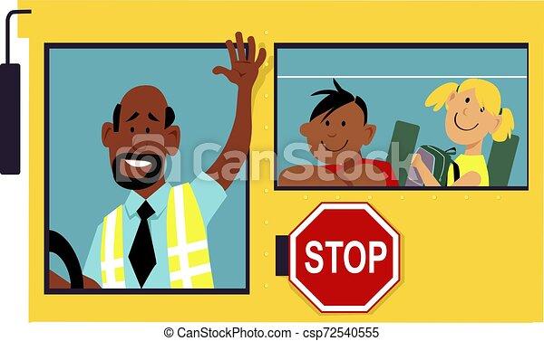 Conductor del autobús escolar - csp72540555