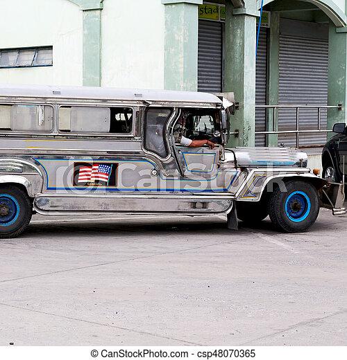 autobús, philipphines, asia, típico - csp48070365