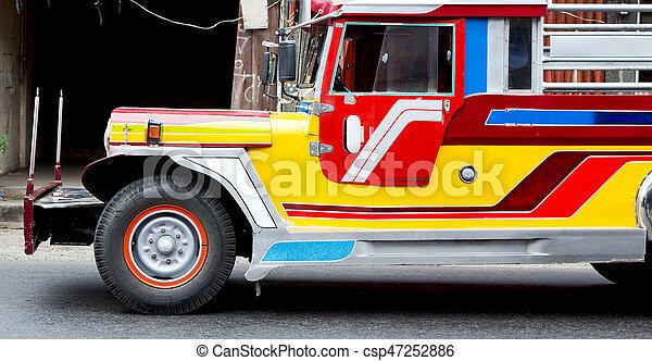 autobús, philipphines, asia, típico - csp47252886