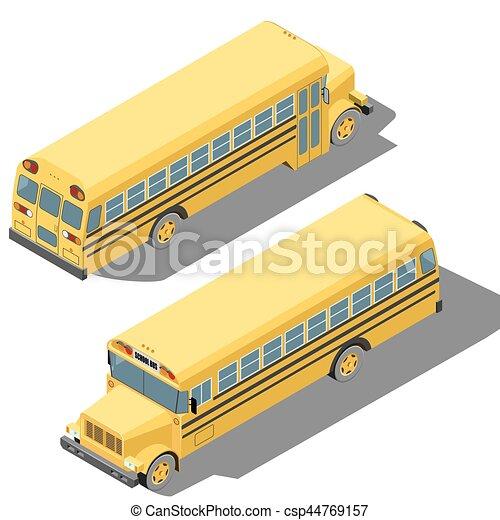 autobus école, isométrique, illustration, isolé, arrière-plan., vecteur, blanc - csp44769157