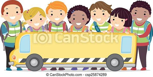 autobus, bambini scuola, bandiera, stickman - csp25874289