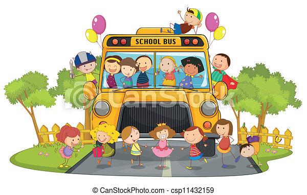 autobus, bambini scuola - csp11432159