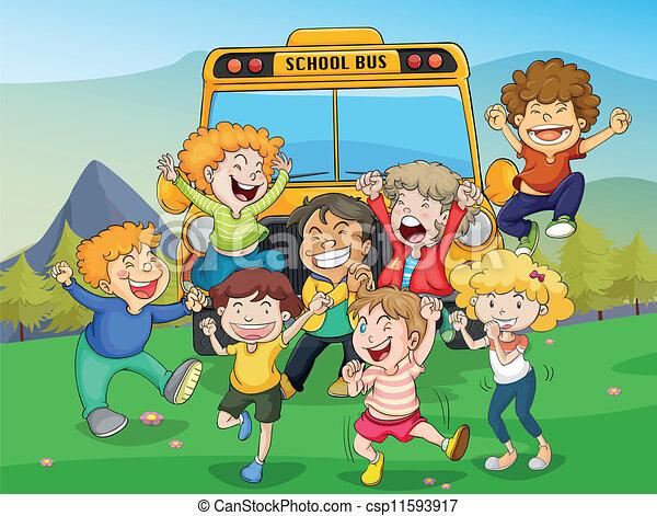 Autobus bambini scuola illustrazione natura for Scuola clipart