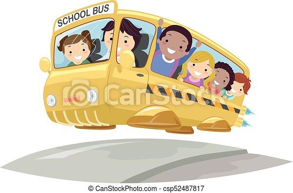 autobus, bambini, stickman, futuristico, illustrazione - csp52487817