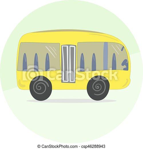 Autobus carino cartone animato giallo icona. carino autobus