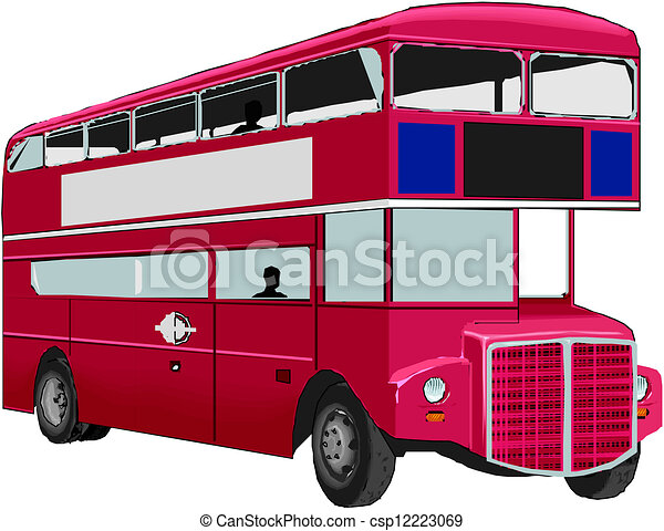 autobus, double-decker, rosso - csp12223069