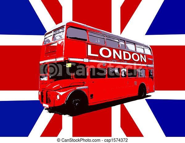 Super Clipart de autobus, drapeau, londres, royaume-uni - bus  BZ92