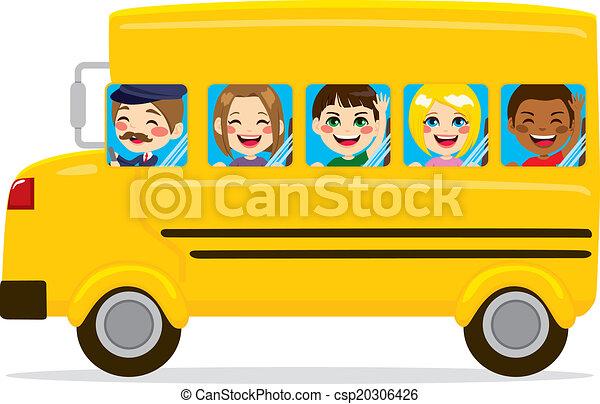 autobus, gosses école - csp20306426