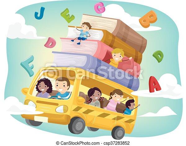 autobus, gosses école, stickman - csp37283852