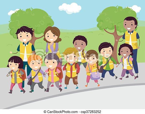 autobus, marche, gosses, stickman - csp37283252