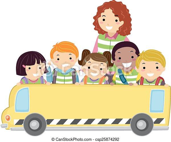 autobus, stickman, gosses, bannière - csp25874292