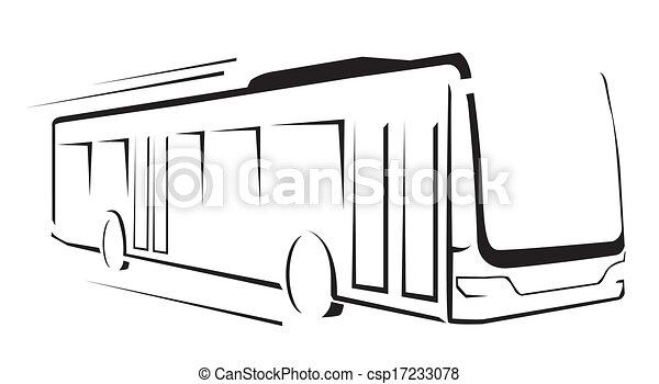 autocarro, ilustração, símbolo, vetorial - csp17233078