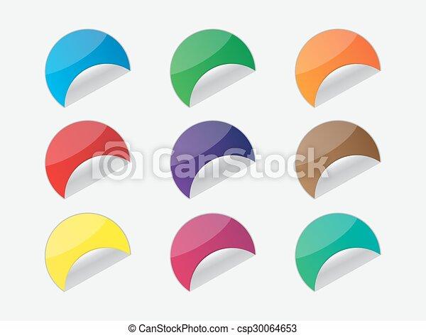 autocollant, ensemble, coloré - csp30064653