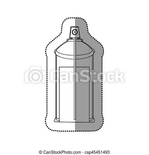 autocollant, pulvérisation, interne, boîte aérosol, bouteille, vue, contour, icône - csp45451493