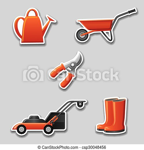 autocollants, outils jardinage - csp30048456