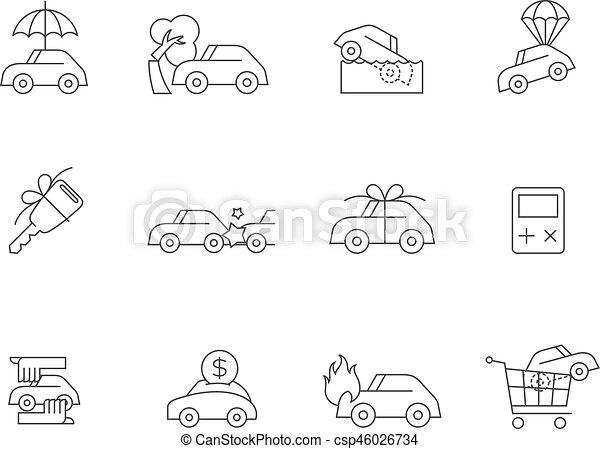 Iconos delineados: seguro de autos - csp46026734