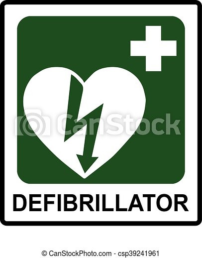 Automated External Heart Defibrillator Safe Condition Vector Sign