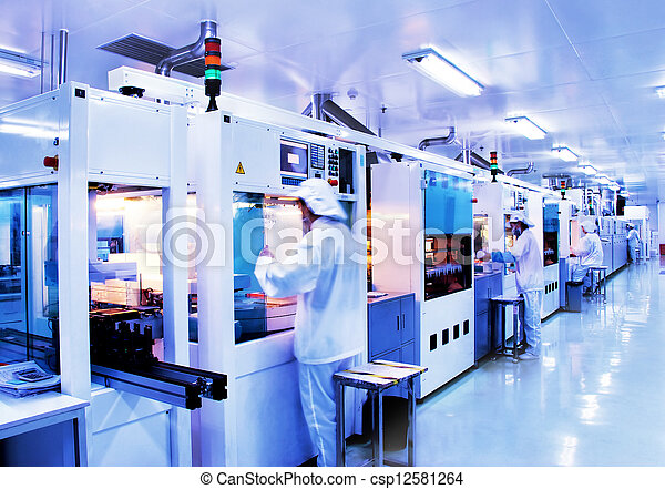 Automated production line in modern Solar silicon factory - csp12581264