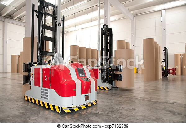 Automated warehouse (paper) with robotic forklift - csp7162389