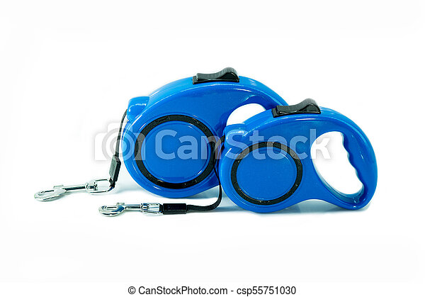 Automatic leash of blue for dog on isolated white. - csp55751030